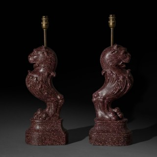 Pair of Grand Tour Faux Porphyry Table Lamps
