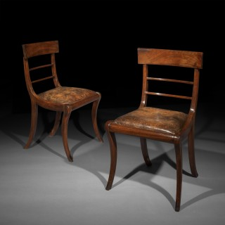 Set of Six Regency Mahogany Klismos Chairs