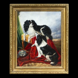 19th Century Painting of Two King Charles Spaniels