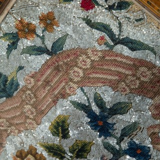 19th Century Beadwork Tapestry Picture