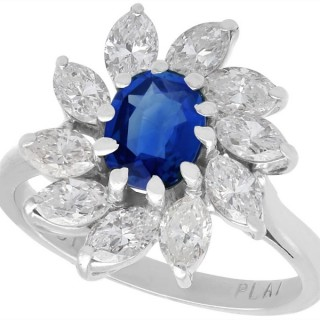 1.20ct Sapphire and 2.35ct Diamond, 18ct White Gold Cluster Ring - Vintage Circa 1960
