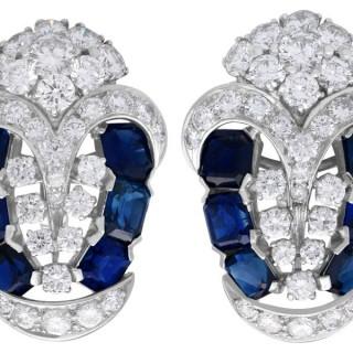 3.78ct Sapphire and 4.21ct Diamond, Platinum Earrings - Art Deco - Vintage Circa 1940