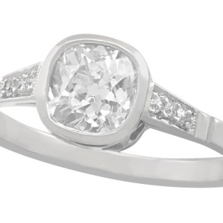 1.07 ct Diamond and 14 ct White Gold Solitaire Ring - Antique Circa 1920