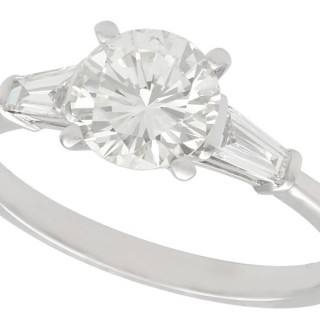 1.38 ct Diamond and 18 ct White Gold Solitaire Ring - Art Deco Style - Contemporary Circa 2000