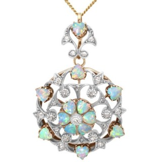 2.38ct Opal and 0.72ct Diamond, 12 ct Yellow Gold Pendant / Brooch - Antique Circa 1880