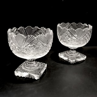 Pair Georgian Glass Sweet Meat Dishes