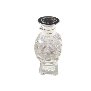 Antique Sterling Silver, Cut Glass & Inlaid Tortoiseshell Perfume Bottle 1912