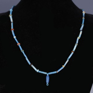 Elegant Egyptian Faience Necklace with Petal Amulet