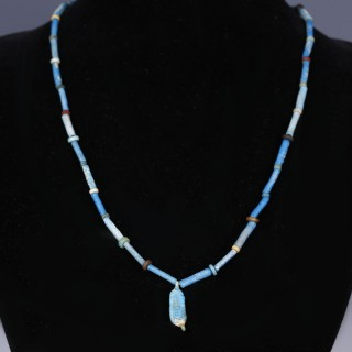 Egyptian Faience Necklace with Date Shaped Amulet