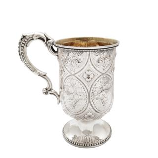 Antique Victorian Sterling Silver Christening Mug / Tankard 1892