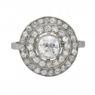 Antique diamond target ring, French, circa 1910.