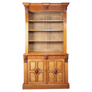 Antique Victorian Golden Oak Open Bookcase