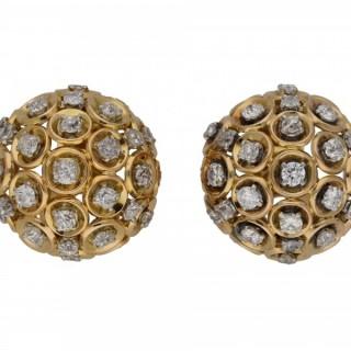 Boucheron diamond and gold clip earrings, French, circa 1950.