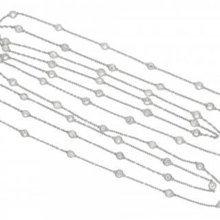 Edwardian diamond set long guard chain necklace, circa 1910.