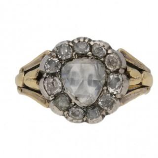 Georgian diamond coronet cluster ring, English, circa 1830.