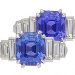 Colour change Ceylon sapphire and diamond ring, circa 1935.