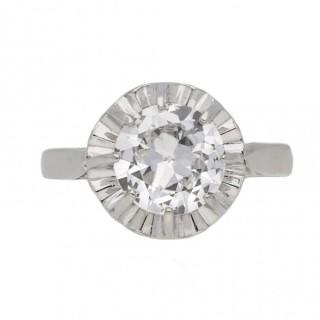 Art Deco solitaire diamond ring, French, circa 1930.