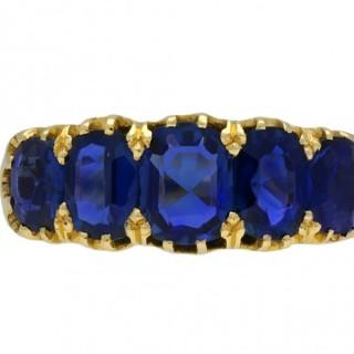 Victorian Sapphire five stone ring, circa 1890.