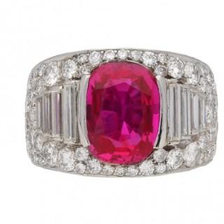 Bulgari Burmese ruby and diamond 'Trombino' ring, circa 1935.