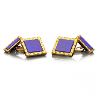 Stylish Gold and Lapis Lazuli Square Cufflinks by Cartier c.1970s