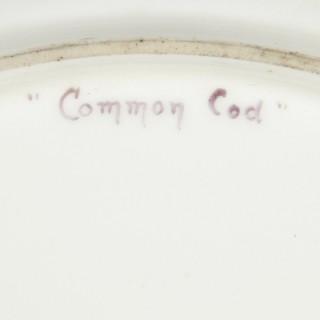 Set of Antique Coalport Porcelain Dinner Plates Depicting English Fish