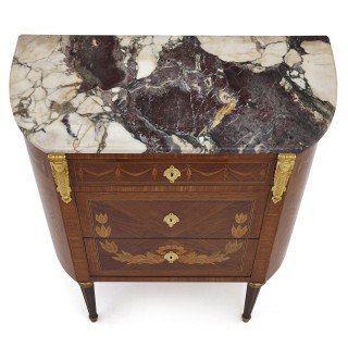 Antique Marble Topped Hardwood Dresser with Neoclassical Marquetry