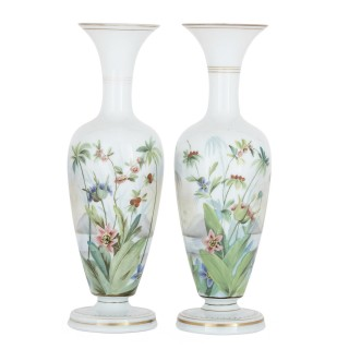 Two Antique Floral Painted and Parcel Gilt Opaline Glass Vases