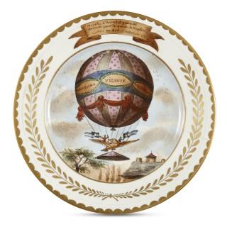 Antique Porcelain Plate Depicting Emperor Napoleon's Coronation Air Balloon