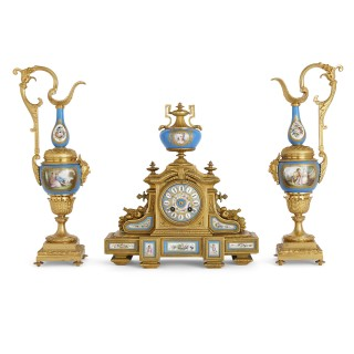 Antique Three-Piece Louis XV and Sèvres Style Clock and Ewer Set