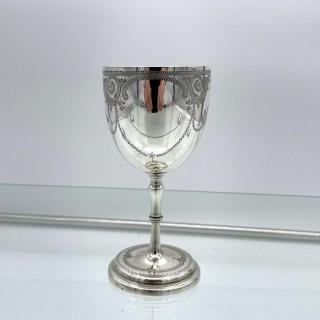 Antique Victorian Sterling Silver Wine Goblet London 1863 Henry Holland
