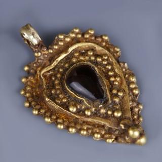 Byzantine Leaf Shaped Pendant with Garnet