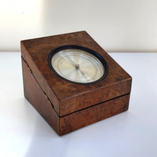 Early Victorian Burr Walnut Cased Aneroid Barometer by Callaghan Bond Street London