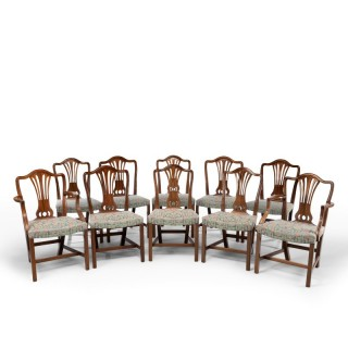 An Attractive Set of 10 (8+2) Camel Backed Mahogany Framed Chairs