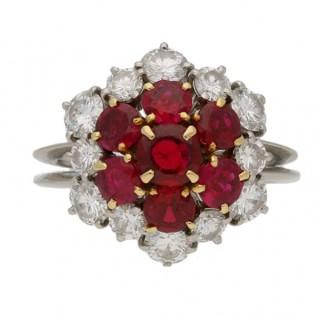 Boucheron ruby and diamond cluster ring, France, circa 1970.