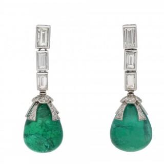 Drop emerald Cabochon and diamond earrings, circa 1970.