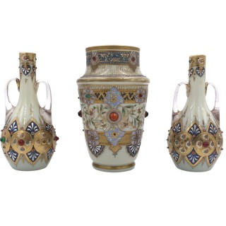 SET OF THREE JEWELLED BOHEMIAN OPALINE VASES,  19TH CENTURY