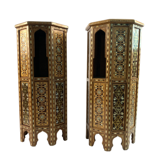 A Pair of Ottoman Mother-of-Pearl and Tortoiseshell Stands,19th Century