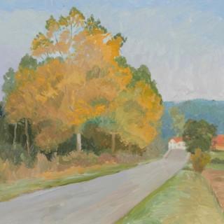 'Poplars, Burgundy' by Luke Dillon-Mahon (1917-1997)