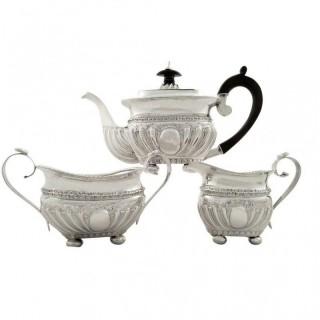 Antique Victorian Sterling Silver 3 Piece Bachelor Tea-set 1888