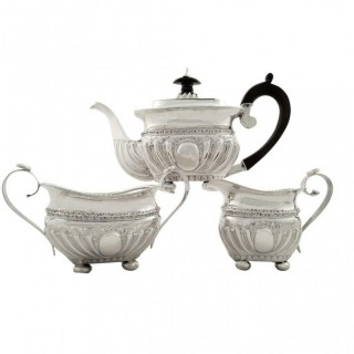 Antique Victorian Sterling Silver 3 Piece Teaset 1888
