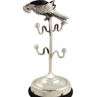 Antique Edwardian Sterling Silver Parrot Pin Cushion / Ring Tree 1909