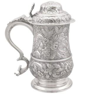 Sterling Silver Quart Tankard - Antique Georgian (1770)