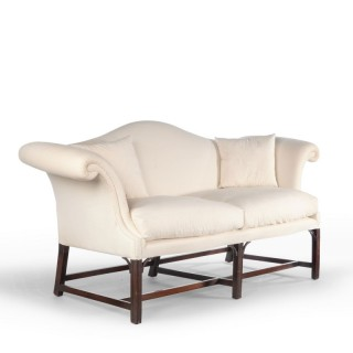 An Attractive Early 20th Century Camelback Scroll Arm Sofa