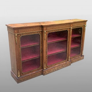 Burr Walnut And Ormolu Mounted Breakfront Side Cabinet/credenza