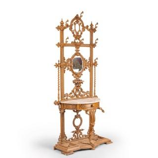 An Elaborate Mid 19th Century Cast Iron Hall / Stick Stand