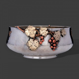 An American aesthetic mixed metal silver bowl by Gorham
