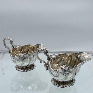 Matched Antique Georgian Sterling Silver Pair Sauceboats London 1749/1811 Elizabeth Godfrey/Burwash and Sibley