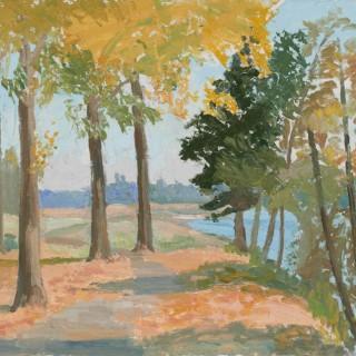 'Poplars at Montrichard, Loire, France' by Luke Dillon-Mahon (1917-1997)