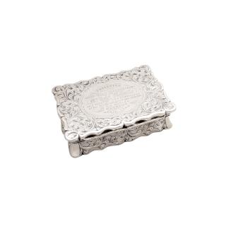 Antique Victorian Sterling Silver Snuff Box 1852