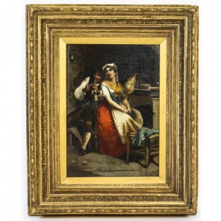 Antique Italian Oil Painting Francesco Peluso 19th Century